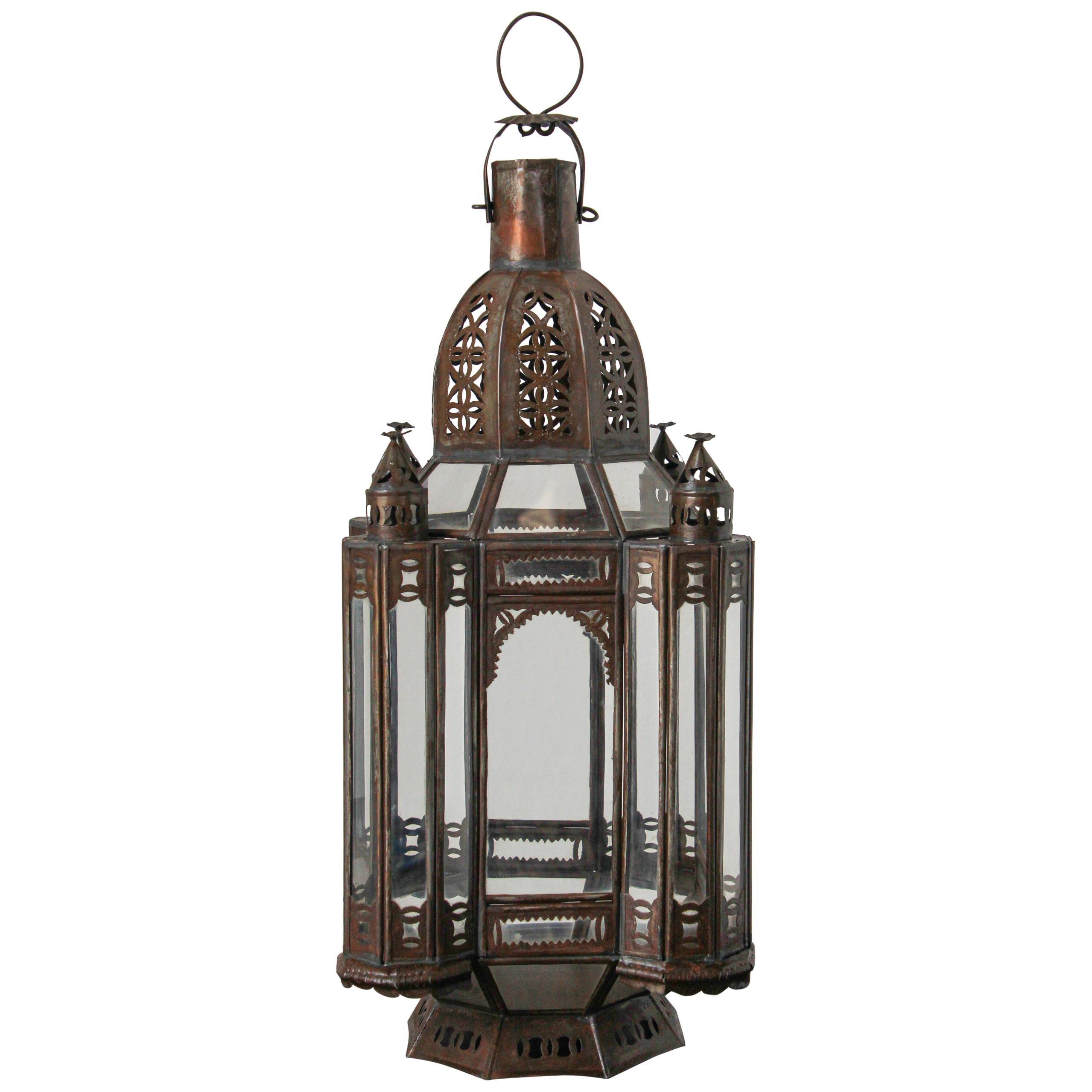 Moroccan Moorish Metal and Clear Glass Candle Lantern