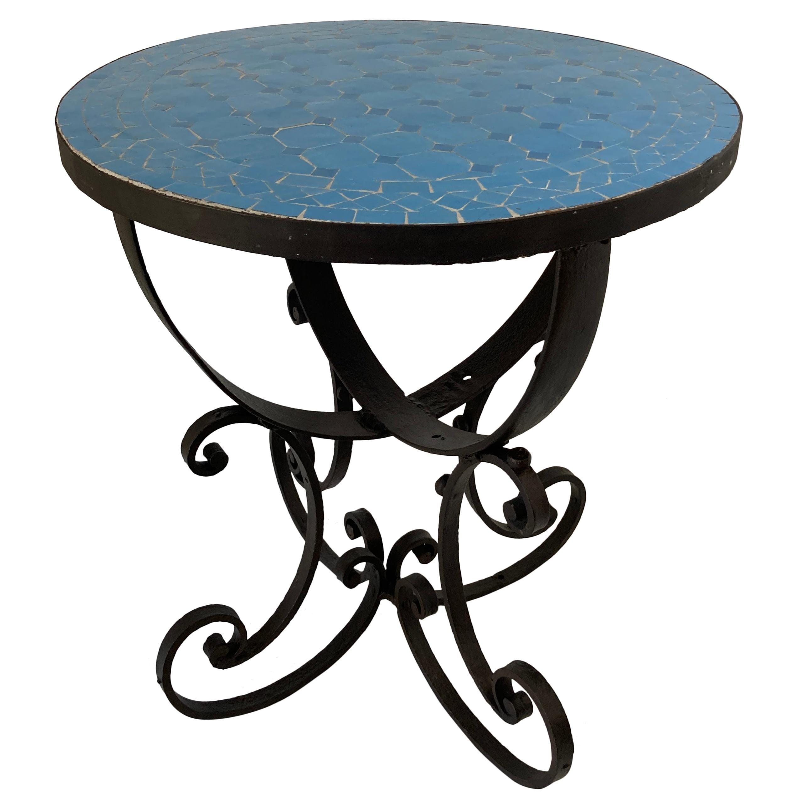 Moroccan Moorish Mosaic Tile Blue Color Side Table on Iron Base