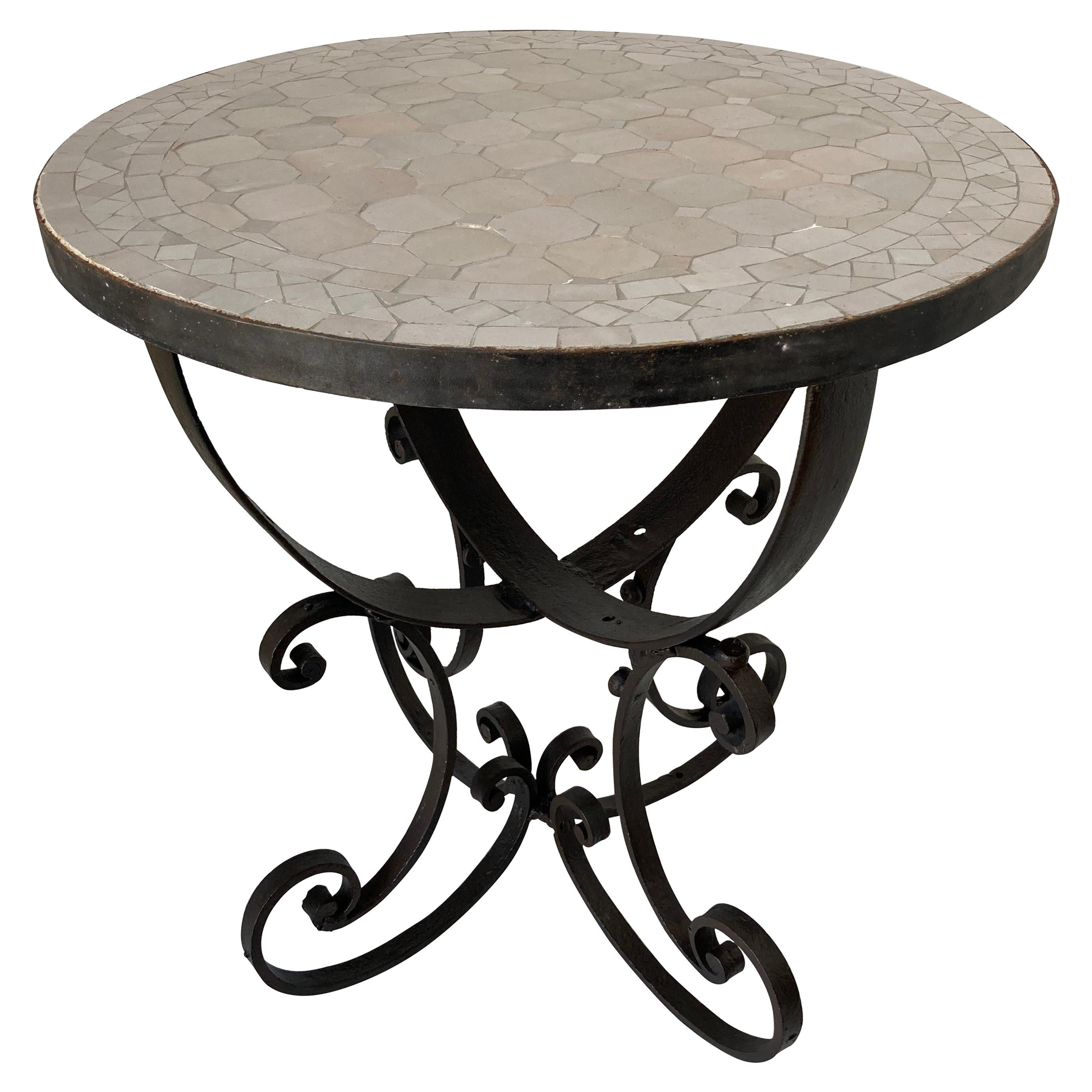 Moroccan Moorish Mosaic Tiles Ivory-White Color Side Table