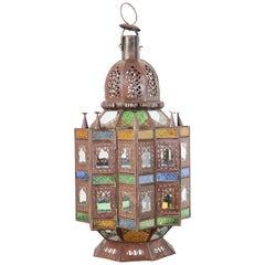 Moroccan Moorish Multi-Color Glass Lantern in Star Shape