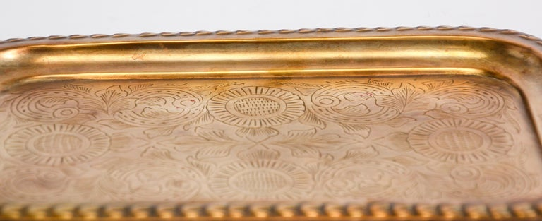 Handcrafted Moroccan Moorish rectangular brass tray hammered with fine delicate geometrical and floral designs.
