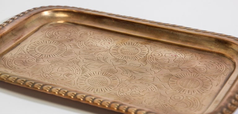 Hand-Carved Moroccan Moorish Rectangular Brass Tray For Sale