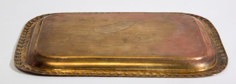 20th Century Moroccan Moorish Rectangular Brass Tray For Sale