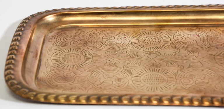 Moroccan Moorish Rectangular Brass Tray For Sale 1