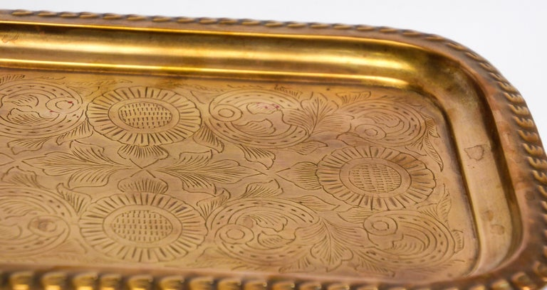 Moroccan Moorish Rectangular Brass Tray For Sale 2