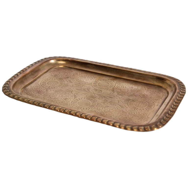 Moroccan Moorish Rectangular Brass Tray For Sale