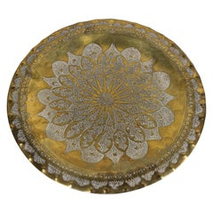 Moroccan Moorish Round Decorative Brass Tray