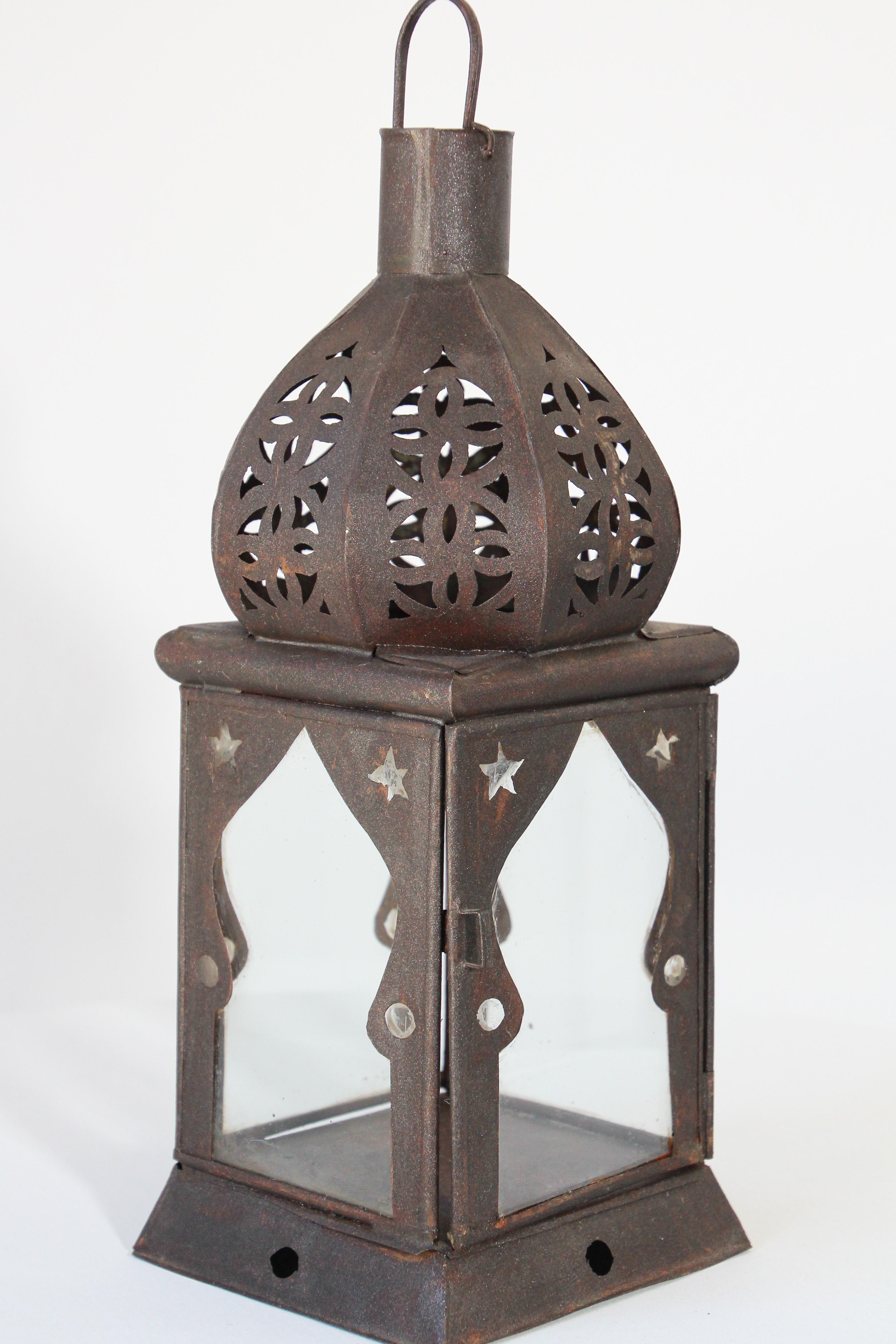 Moroccan Moorish Square Metal And Clear Glass Candle Lantern For Sale At 1stdibs