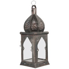 Moroccan Moorish Square Tole and Clear Glass Candle Lantern