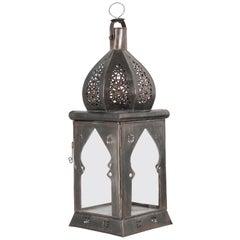 Moroccan Moorish Square Tole and Clear Glass Candle Lantern