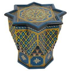 Moroccan Moorish Star Blue Hand Painted Side Table