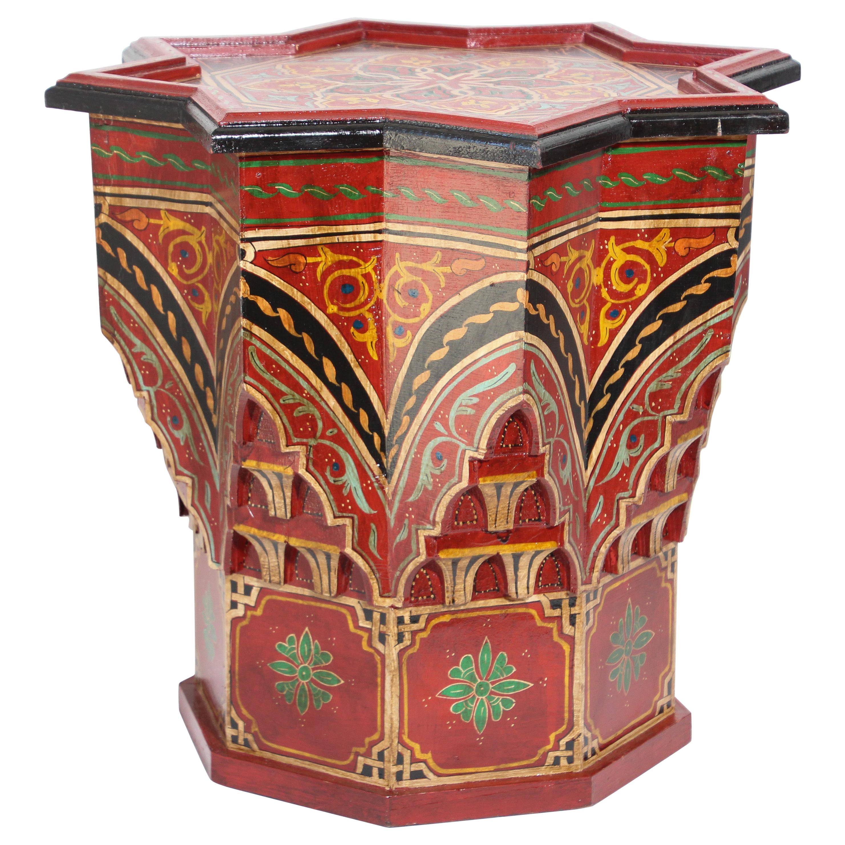 Moroccan Moorish Star Red Side Table