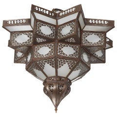 Moroccan Moorish Star Shape Frosted Glass Lantern Light Shade