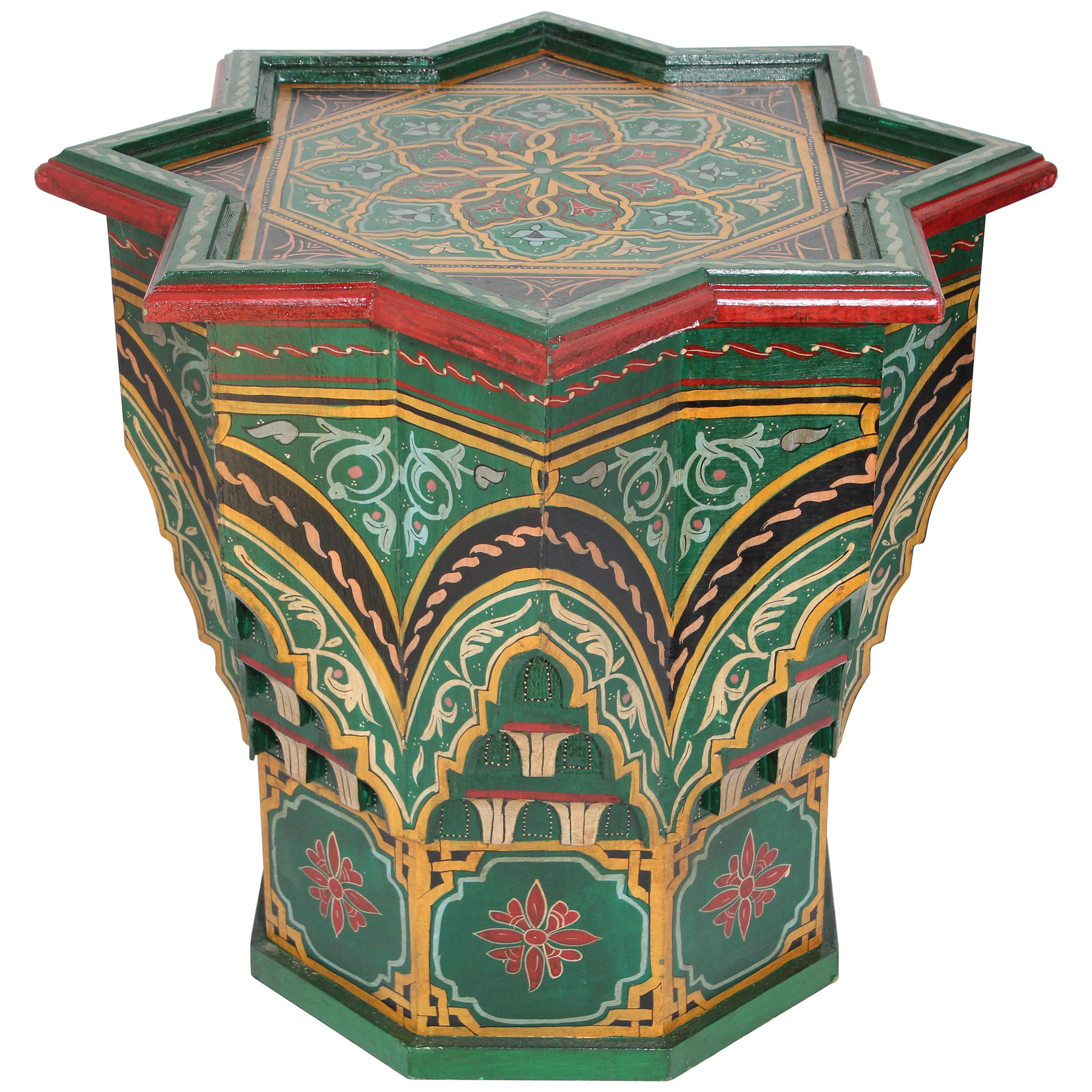 Moroccan Moorish Star Shape Green Side Table