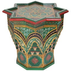 Moroccan Moorish Star Shape Green Side Table