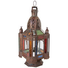 Moroccan Moorish Tole and Glass Candle Lantern