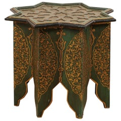 Moroccan Morrish Star Shaped Tea or Side Table, in Green, Black and Gold
