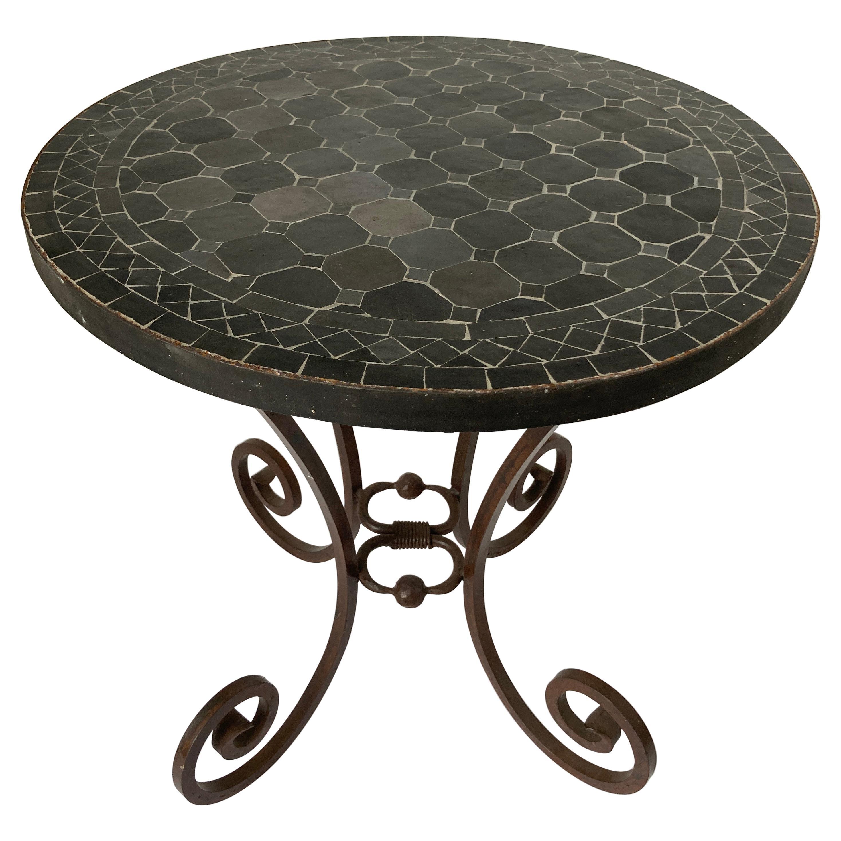 Moroccan Mosaic Black Tile Color Side Patio Table