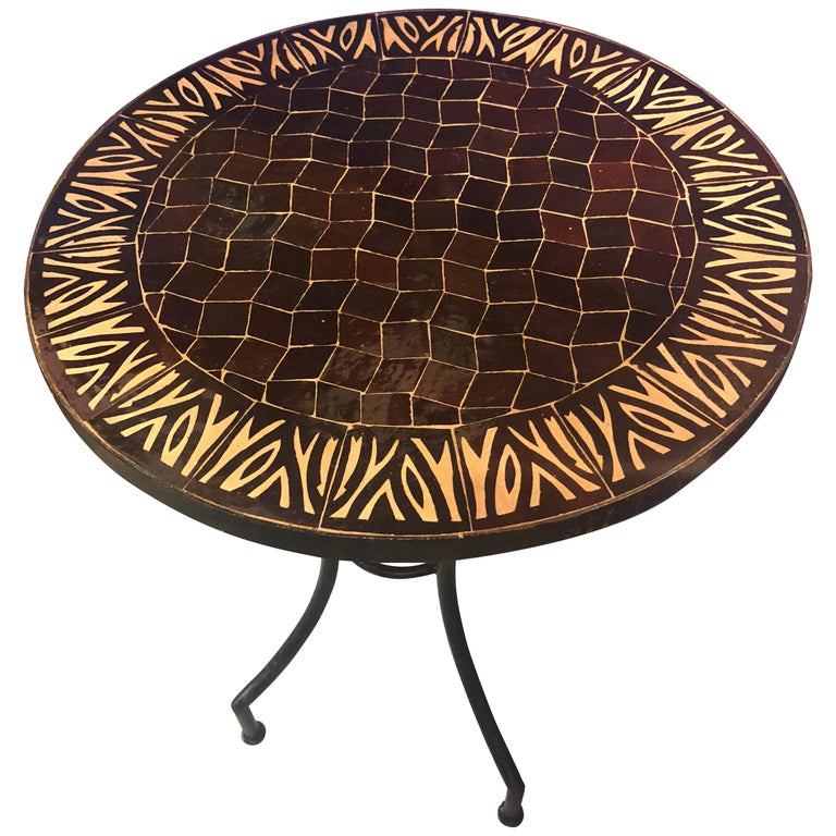 Moroccan Mosaic Brown Tile Bistro Table For Sale At 1stdibs