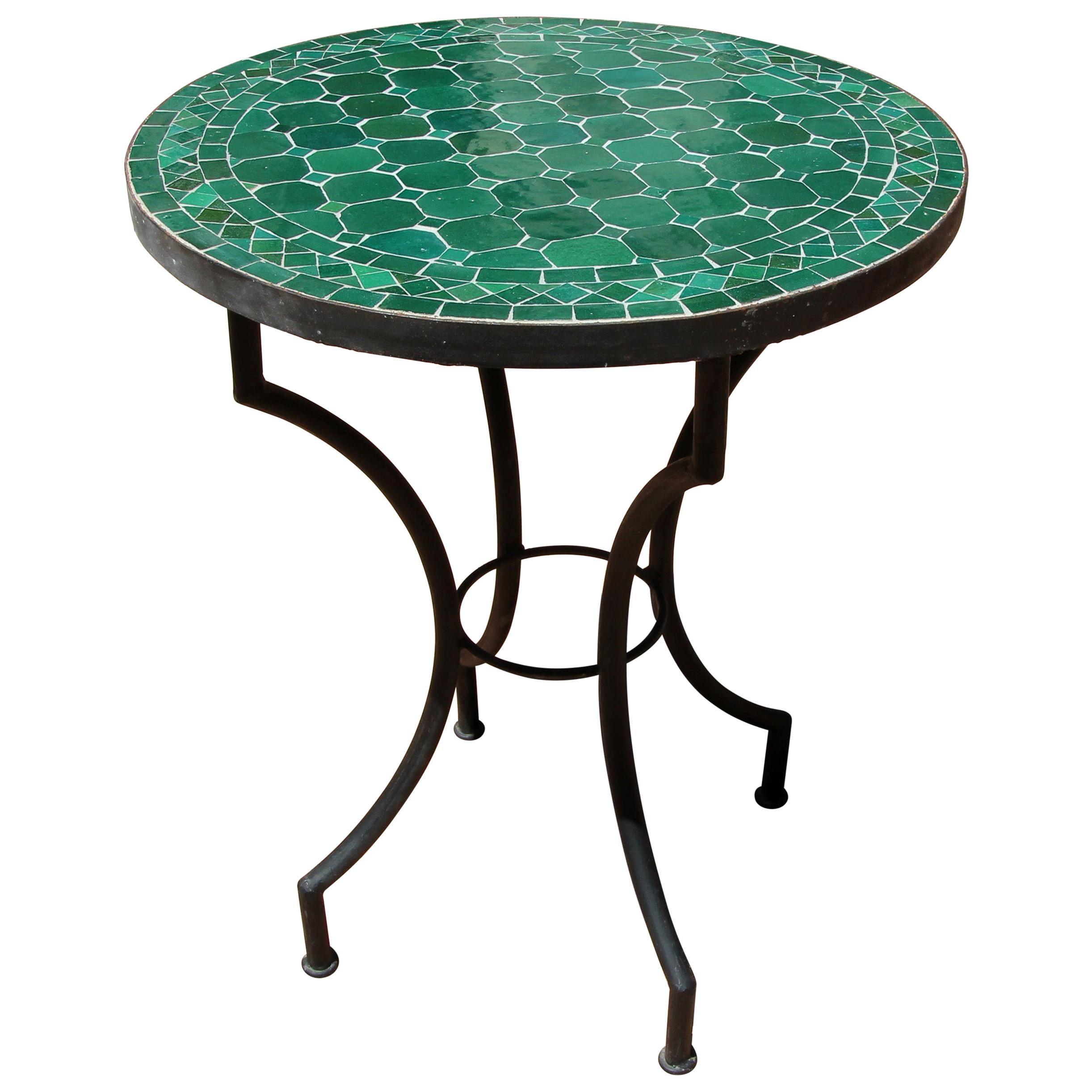 Moroccan Mosaic Emerald Green Tiles Bistro Table