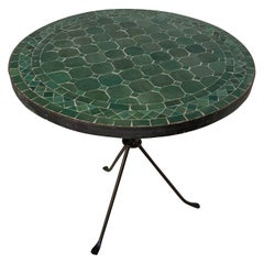 Moroccan Mosaic Emerald Green Tile Side Table