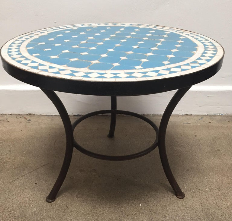 Moroccan Mosaic Outdoor Blue Tile Side Table on Low Iron ... on Outdoor Living Iron Mosaic id=94133