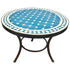 Moroccan Mosaic Outdoor Blue Tile Side Table on Low Iron Base