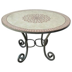 Moroccan Mosaic Outdoor Table in Red Fez Moorish Design