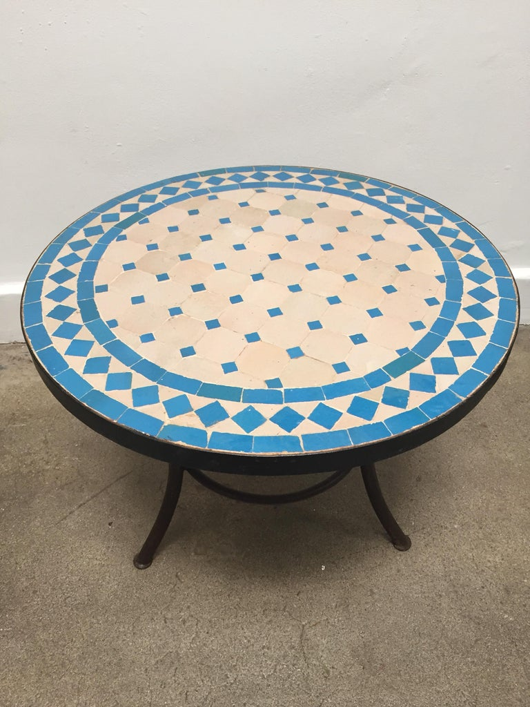 Moroccan Mosaic Outdoor Turquoise Tile Side Table On Low