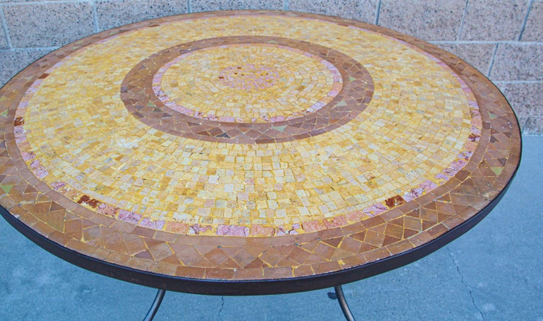 20th Century Moroccan Mosaic Stone Table Indoor or Outdoor For Sale