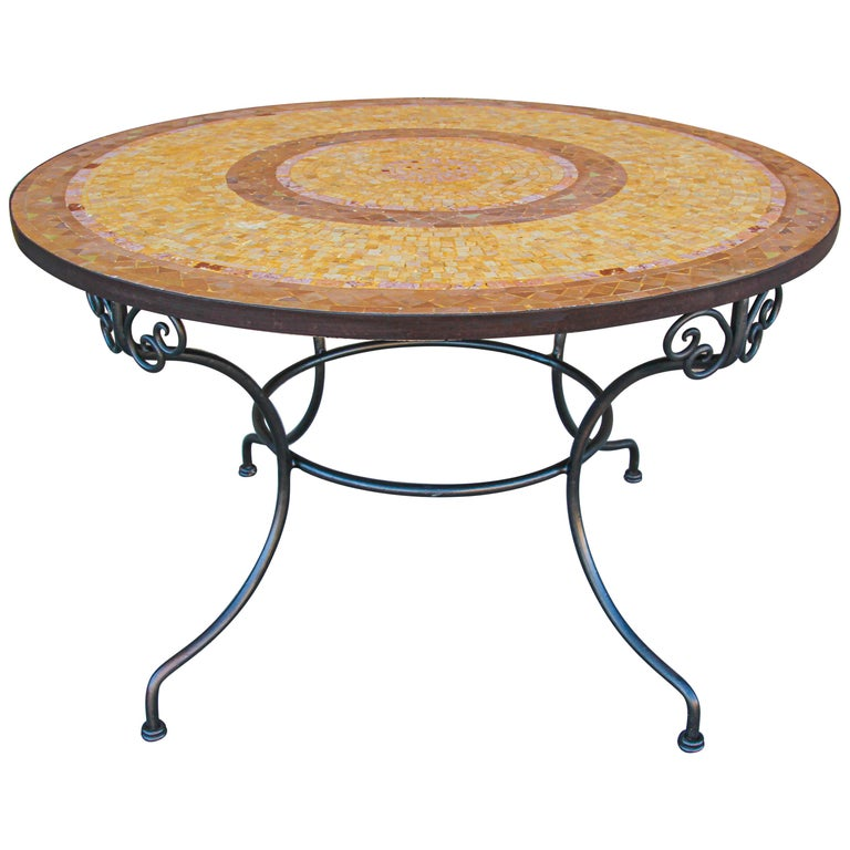 Moroccan Mosaic Stone Table Indoor or Outdoor For Sale