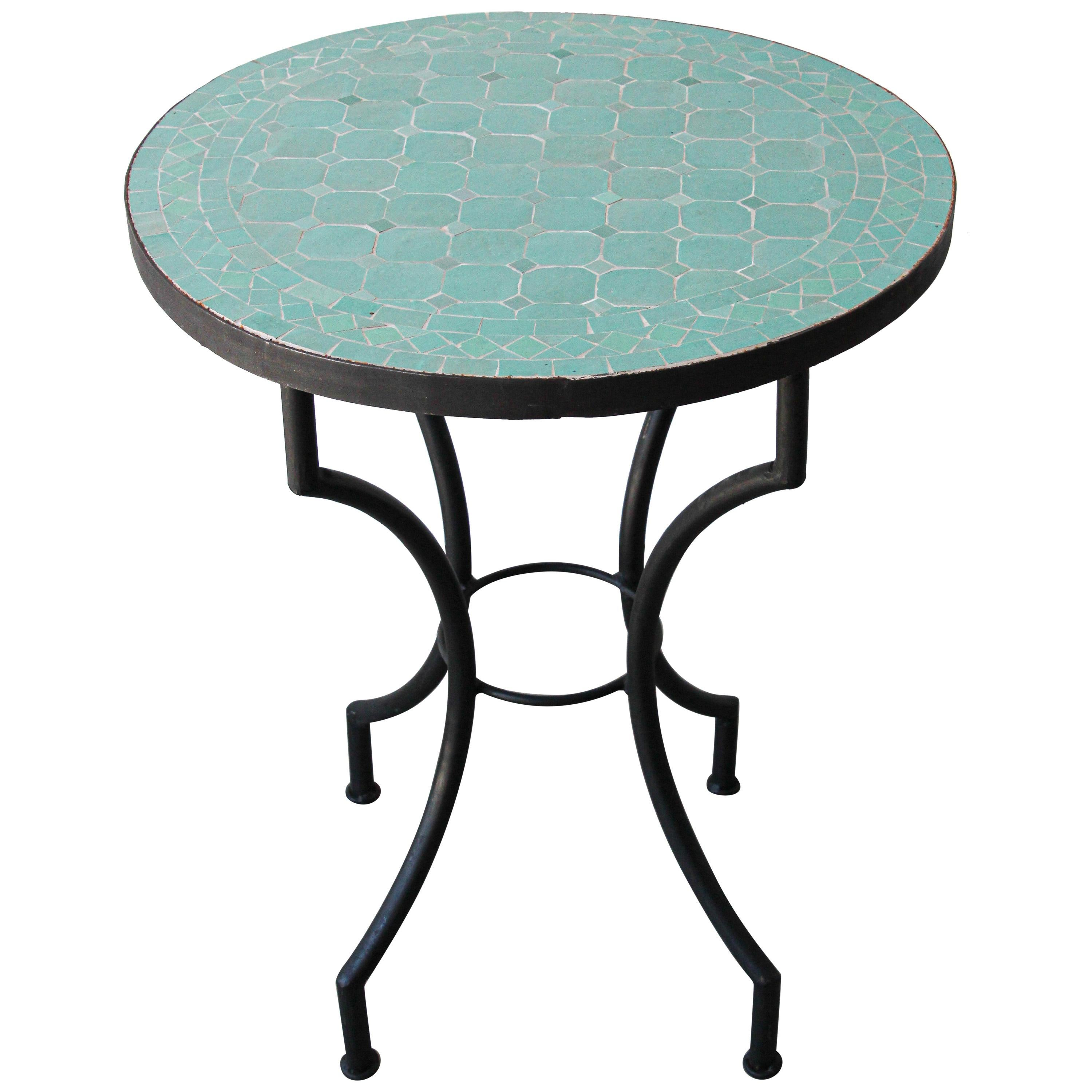 Moroccan Mosaic Teal Color Bistro Tiles Table
