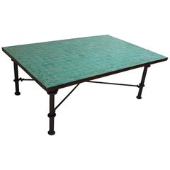 Moroccan Mosaic Teal Tile Rectangular Coffee Table