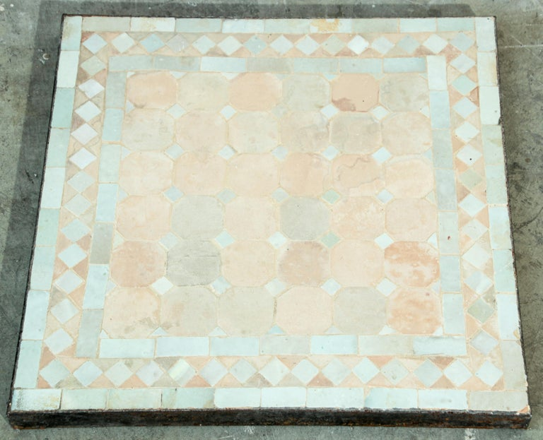 Moroccan Mosaic Tile Bistro Table In Good Condition For Sale In North Hollywood, CA