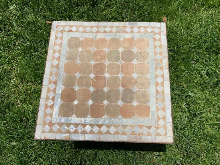 Moroccan Mosaic Tile Square Tile Side Table In Good Condition In North Hollywood, CA