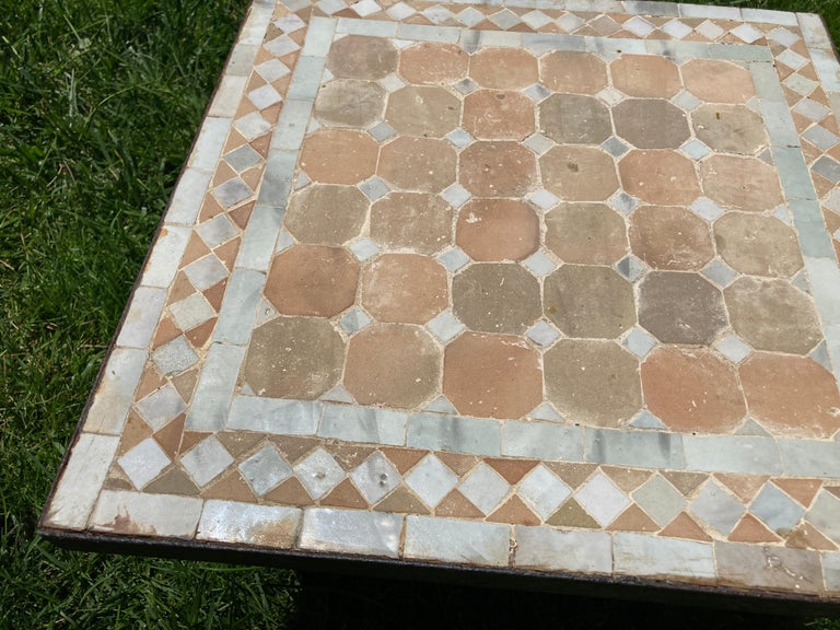 20th Century Moroccan Mosaic Tile Square Tile Side Table