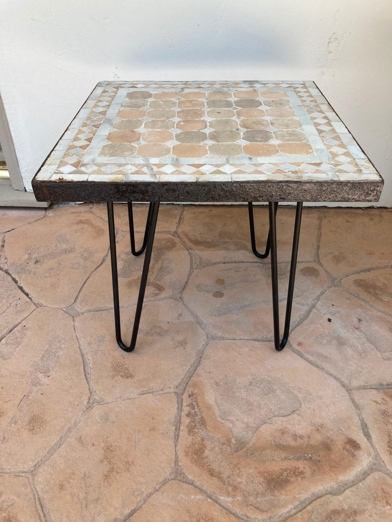 Moroccan Mosaic Tile Square Tile Side Table 1