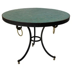 Moroccan Mosaic Tile Teal Color Side Patio Table
