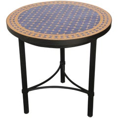 Moroccan Mosaic Tiles Cobalt Blue and Yellow Colors Side Table