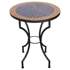 Moroccan Mosaic Tiles Cobalt Blue Color Bistro Table