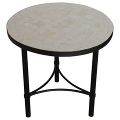 Moroccan Mosaic Tiles Off-White Color Side Table