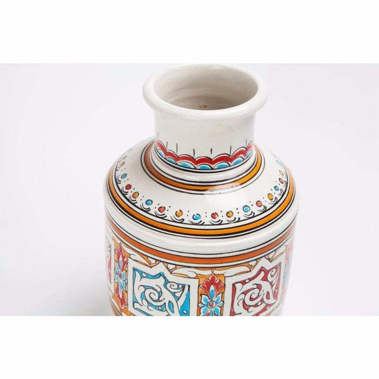 Moorish Moroccan Orange Blue and White Handcrafted Vintage Ceramic Vase For Sale