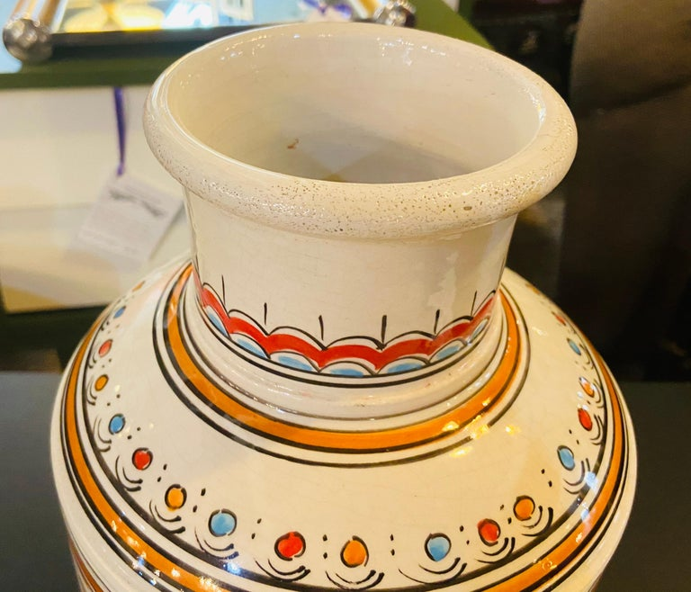 Late 20th Century Moroccan Orange Blue and White Handcrafted Vintage Ceramic Vase For Sale