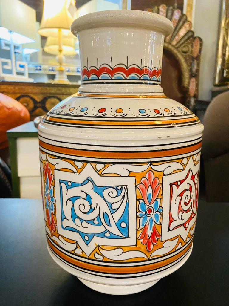 Moroccan Orange Blue and White Handcrafted Vintage Ceramic Vase For Sale 1