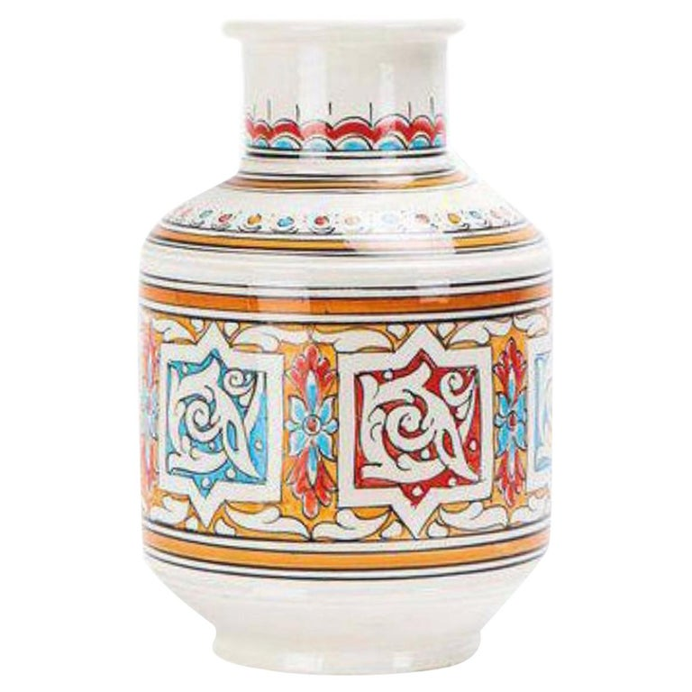 Moroccan Orange Blue and White Handcrafted Vintage Ceramic Vase For Sale