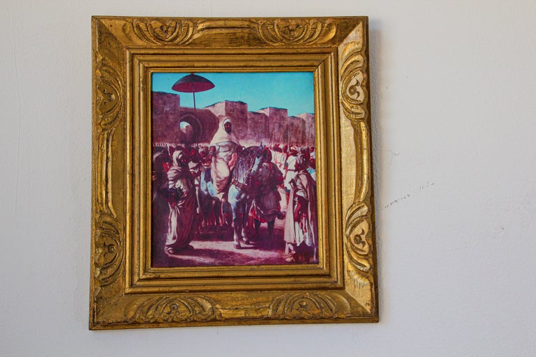 Orientalist Moroccan scene giclee painting of the King o Morocco.