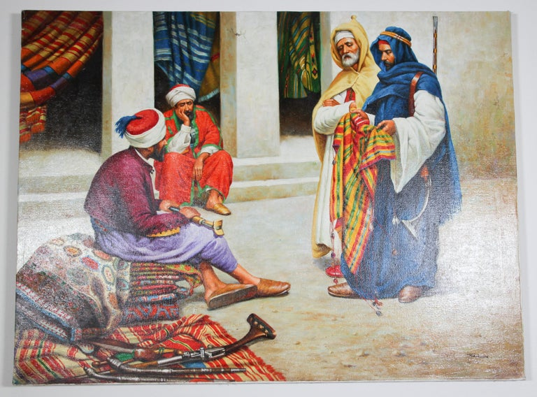Moroccan Orientalist Oil Painting of a Rug Market For Sale 3