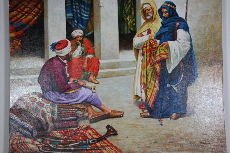 Moorish Moroccan Orientalist Oil Painting of a Rug Market For Sale