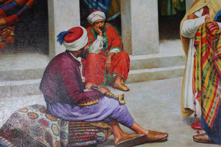 Hand-Painted Moroccan Orientalist Oil Painting of a Rug Market For Sale