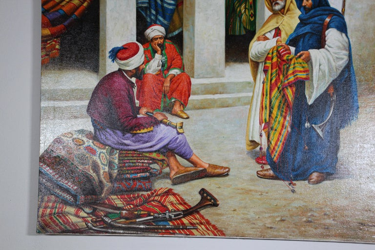20th Century Moroccan Orientalist Oil Painting of a Rug Market For Sale
